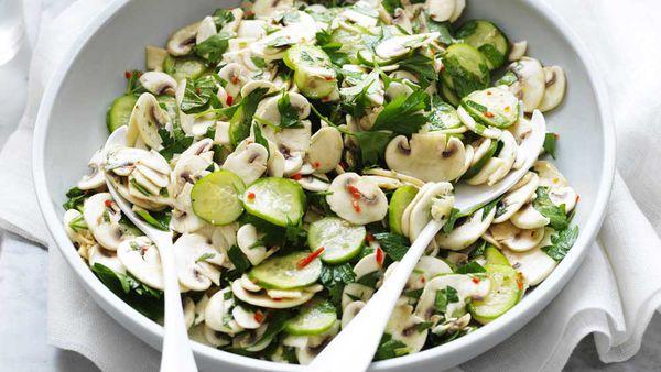 Lemon and herb mushroom salad