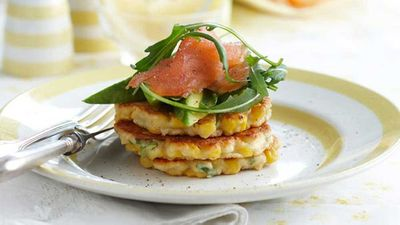 """Recipe: <a href=""""http://kitchen.nine.com.au/2016/05/16/11/05/corn-and-ricotta-fritters"""" target=""""_top"""">Corn and ricotta fritters</a>"""