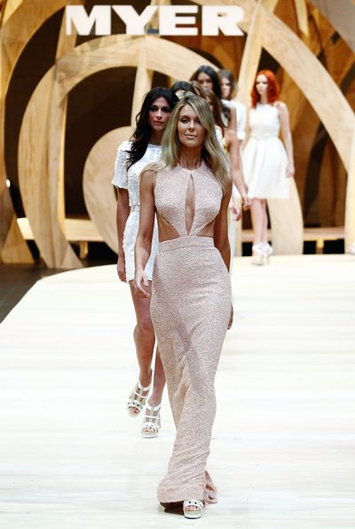 Jennifer Hawkins in Jayson Brunsdon during the Myer Spring/Summer 2009/2010 collection launch in Sydney, August, 2010