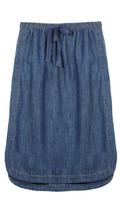 <p>The denim midi-skirt</p>