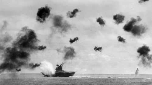 The fierce Battle of Midway in 1942, considered a turning point in the Pacific war.