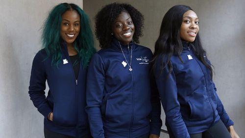 Nigeria's female bobsled team: Akuoma Omeoga, Seun Adigun and Ngozi Onwumere. (AAP)
