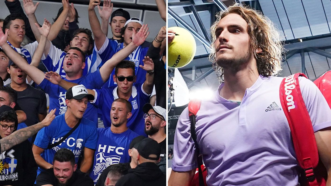 Spectators are seen during the first round match between Stefanos Tsitsipas of Greece and Salvatore Caruso of Italy