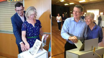 Daniel Andrews and Denis Napthine cast their votes today. (Twitter)