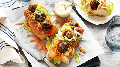 """<a href=""""http://kitchen.nine.com.au/2017/05/10/11/22/pork-and-mushroom-meatball-subs"""" target=""""_top"""">Pork and mushroom meatball subs</a><br /> <br /> <a href=""""http://kitchen.nine.com.au/2016/06/06/23/13/get-in-amongst-these-sandwiches"""" target=""""_top"""">More sandwich inspiration</a>"""