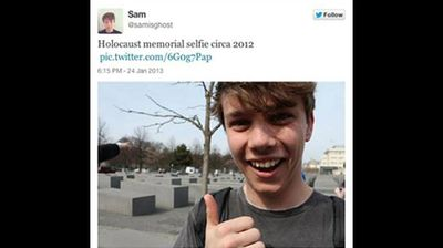 This young man who offered a cheerful thumbs-up selfie at the Holocaust Memorial in Berlin apologised after he was scolded by another site, Selfies at Serious Places. (selfiesatseriousplaces.tumblr.com)
