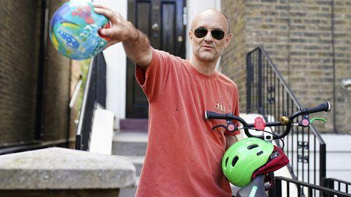 Britain's Prime Minister Boris Johnson's senior aid Dominic Cummings leaves his north London home, in London, Saturday May 23, 2020