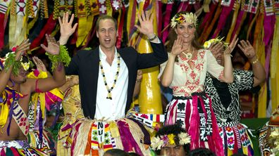 The Duke and Duchess of Cambridge dance with locals at Vaiaku Falekaupule during a visit to Tuvalu, Solomon Islands.