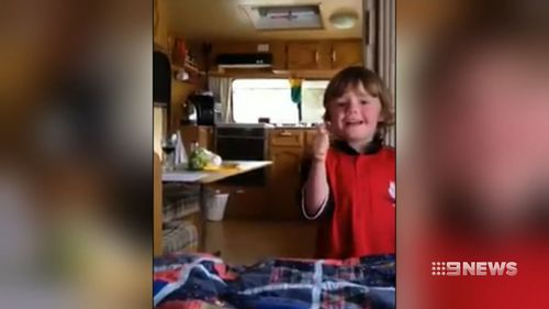 A home video shows a young and happy Brodie Moran from three years ago. (Facebook)