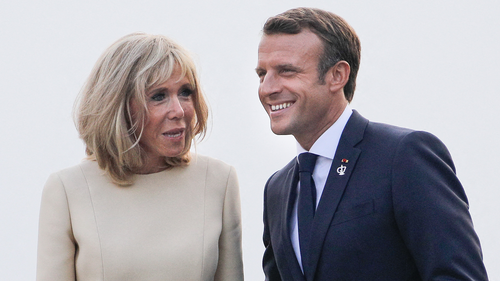 French President Emmanuel Macron and his wife Brigitte await heads of state at the Biarritz lighthouse.