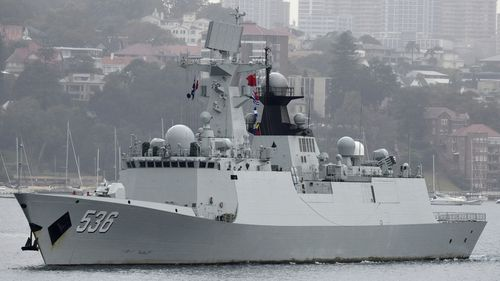 The vessel's arrival comes after three Chinese warships visited Sydney Harbour last month.