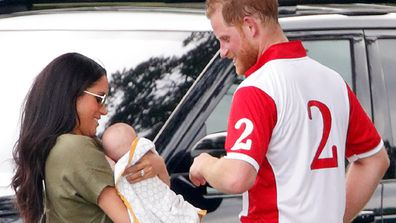 Meghan and Harry with Archie at the polo