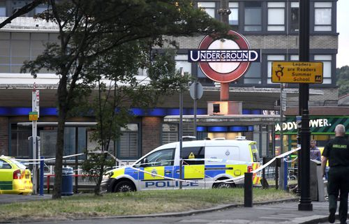 Police remain at the scene of an explosion at Southgate station.