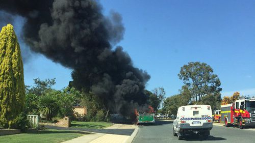Perth bus evacuated moments before being engulfed in flames