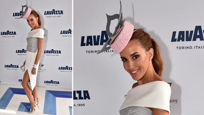 Channel Nine presenter Rebecca Judd in a Tony Maticevski dress, with a hat by Danica Erard Millinery. (AAP)
