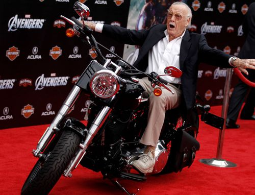 """In this April 11, 2012, file photo,Stan Lee arrives at the premiere of """"The Avengers"""" in Los Angeles."""