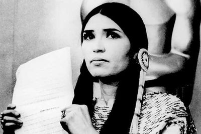 "<B>The Oscar:</B> Best Actor for <I>The Godfather</I>, at the 45th Academy Awards (1973).<br/><br/><B>The speech:</B> Brando famously boycotted the awards and sent Native American woman Sacheen Littlefeather on stage in his place to protest the treatment of her people in Hollywood. <br/><br/><B>Best bit:</B> ""I beg at this time that I have not intruded upon this evening, and that... our hearts and our understandings will meet with love and generosity."""