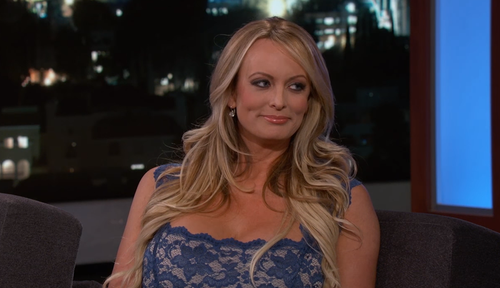Daniels appeared on Jimmy Kimmel Live last month, in a strange interview where she dodged most questions about the president. (Supplied)