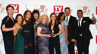 The cast of Wentworth pose in the awards room after winning a Logie for Most Outstanding Drama Series. (Getty)