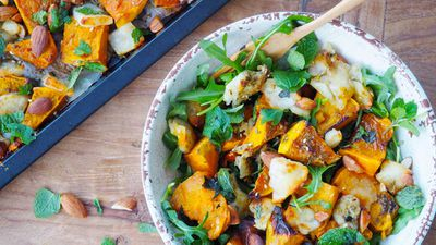 "Recipe: <a href=""http://kitchen.nine.com.au/2017/08/15/13/22/baked-haloumi-and-pumpkin-with-honey-and-zaatar"" target=""_top"">Baked haloumi and pumpkin with honey and za'atar</a>"
