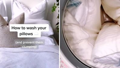 A TikTok video shows how to wash pillows