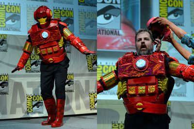 Dan Harmon cosplayed as Iron Man for the <i>Community</i> panel.<br/><br/>Image: NBCUniversal/Getty