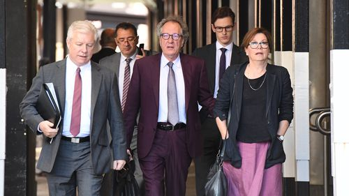 Rush arrives at the Federal Court in Sydney.