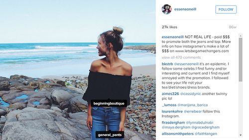 She said this beach shot was 'NOT REAL LIFE - paid $$$ to promote both the jeans and top. ' (Instagram)