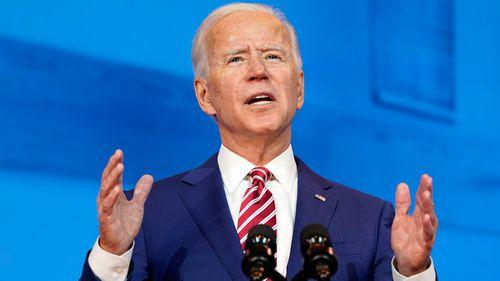 President-elect Joe Biden speaks about coronavirus at The Queen theater, in October.