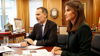 King Felipe VI and Queen Letizia of Spain in their home office