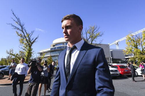 Canberra Raiders NRL player Jack Wighton leaves after a hearing at the ACT Magistrates Court in Canberra today. (AAP)