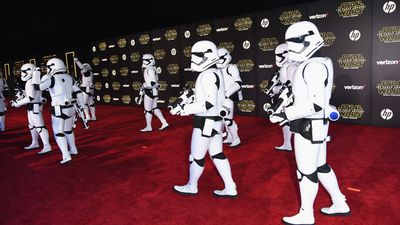 Stormtroopers storm the carpet. (Getty)
