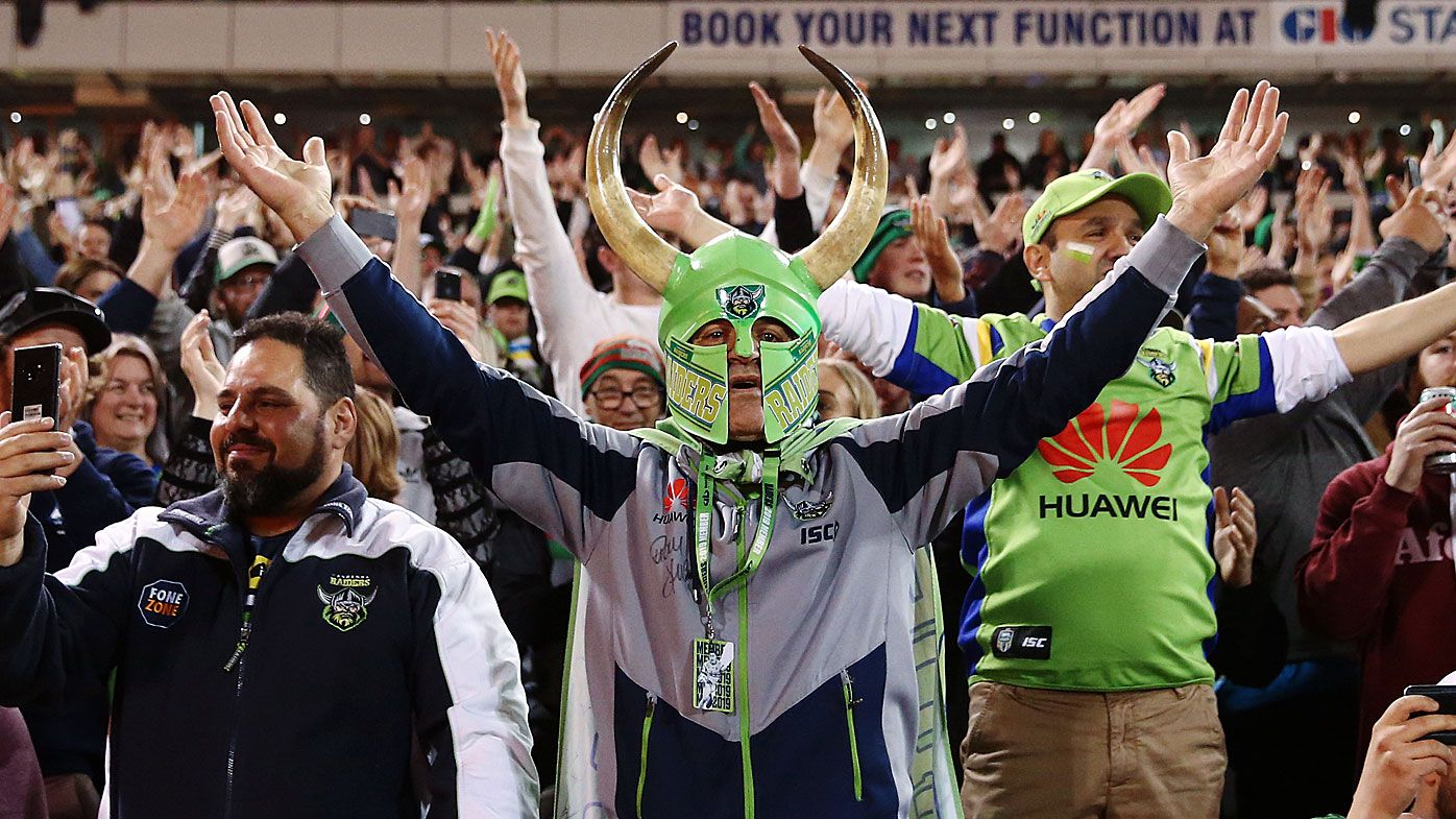 Raiders fans cheer on their team with the 'Viking clap'