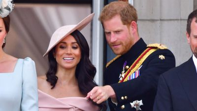 Prince Harry with Meghan Markle at Trooping the Colour, June 2018