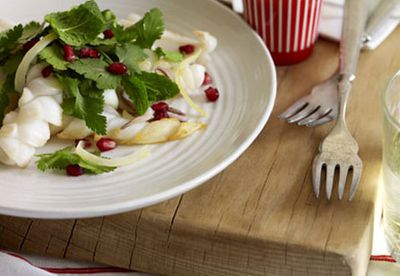 Squid with pomegranate salad
