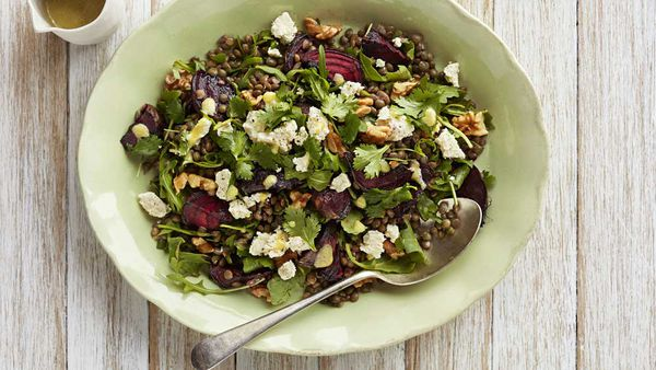 Lentil beetroot and feta salad