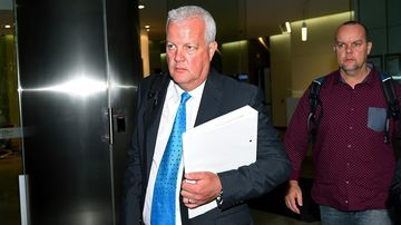 Former Mine Subsistence Board manager Darren Bullock, departs after giving evidence at the Independent Commission Against Corruption in Sydney, April 7, 2015. (AAP)