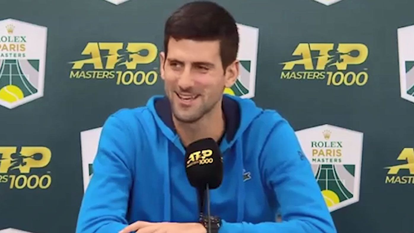 Djokovic's cheeky sledge at coach after Paris Masters win