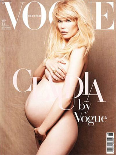 In 2010 Claudia Schiffer recreated Demi Moore's famous pose for <i><b>Vogue</b></i>. And no one batted an eyelid this time!