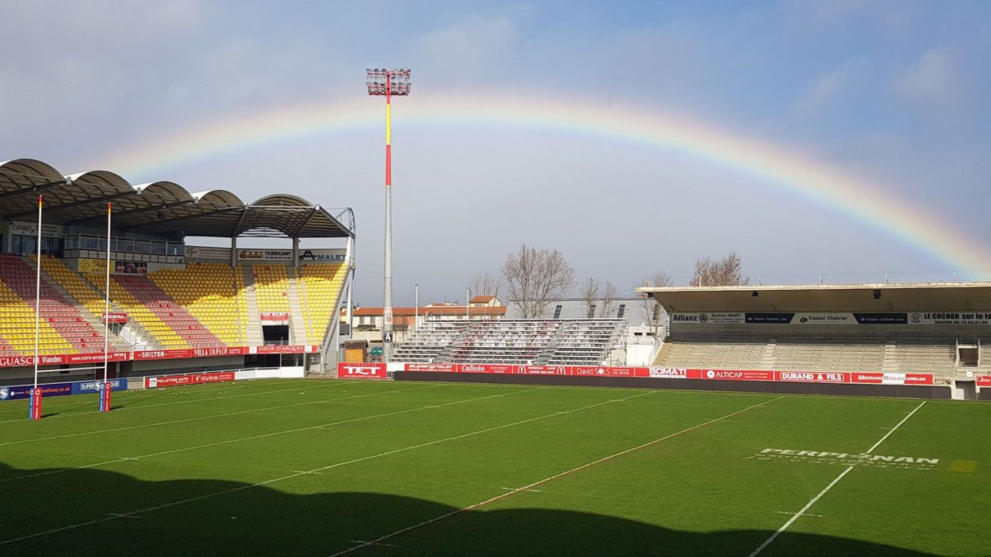 'Izzy't a sign?': Israel Folau greeted by massive rainbow on first day at Catalans Dragons