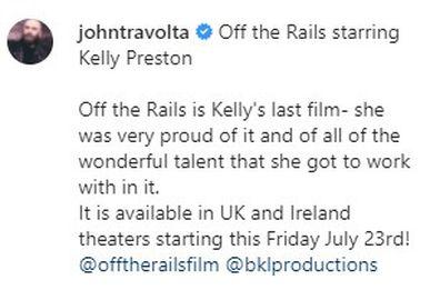 John Travolta honours late wife Kelly Preston as her final film is released.