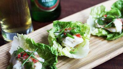 "<a href=""http://kitchen.nine.com.au/2017/03/23/10/03/tsingtao-beer-poached-fish-cups"" target=""_top"">Tsingtao beer poached fish cups</a><br /> <br /> <a href=""http://kitchen.nine.com.au/2017/03/23/11/00/lettuce-cups-and-bowls"" target=""_top"">More lettuce recipes</a>"