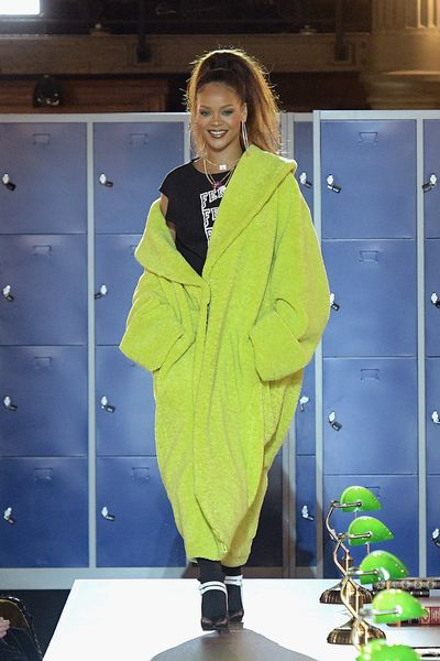 <p>Rihanna at Fenty x Puma, autumn/winter '17.</p> <p><strong>The look:</strong> Imagine what would happen if Kermit and Big Bird got together?</p> <p> </p>