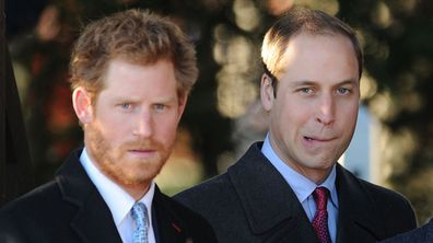 Prince Harry and Prince William after the traditional service. (AAP)