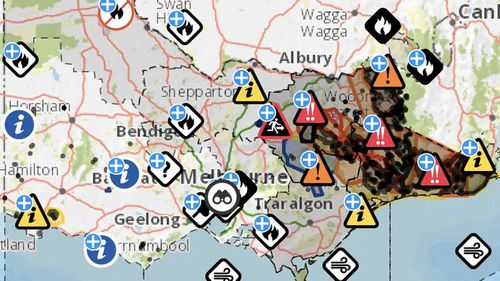 This January 11 image shows the warnings that were in place across Victoria.