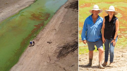 Bill and Chrissy Ashby pictured by the algae-ridden Darling River on their property Trevallyn.