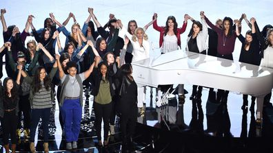Lady Gaga performs onstage during the 88th Annual Academy Awards at the Dolby Theatre on February 28, 2016 in Hollywood, California