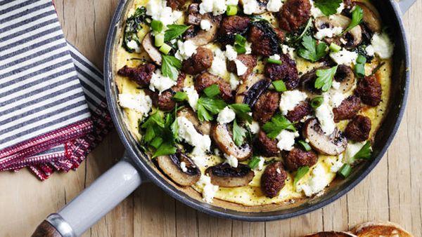 Sausage, kale, mushroom and feta omelette