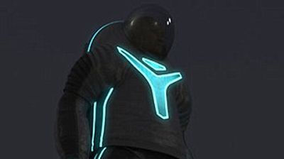 The spacesuit is designed to glow in the dark. (NASA)
