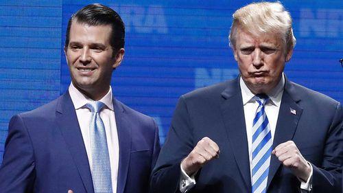 Donald Trump Jr and his father Donald Trump. (AAP)